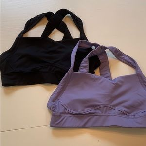 High Support Cross Back Bra in Black and Opaline.